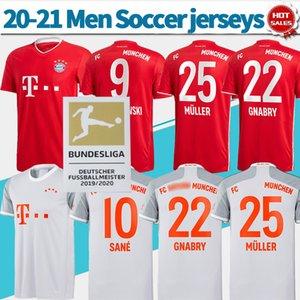 Monaco di Baviera camicia di calcio domestico Jersey rosso # 9 LEWANDOWSKI # 25 MULLER 20-21 Uomini via camicia di calcio # 10 # 22 SANE Gnabry personalizzato uniformi di calcio