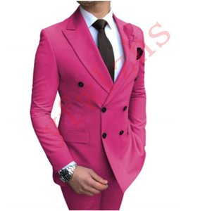 Classic Wedding Tuxedos Double-Breasted Slim Fit Suits For Men Groomsmen Suit Two Pieces Prom Formal Suits (Jacket+Pants+Tie) W293