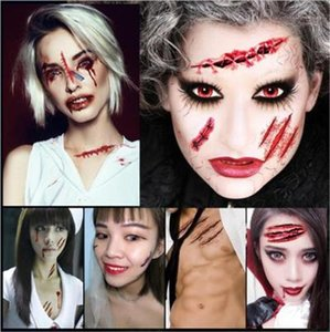Funny Wound Pattern Warter Proof Stickers New Halloween Costume Accessories Halloween Imitate Scar Stickers Realistic Scary