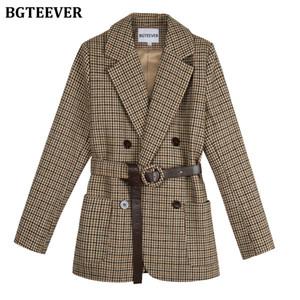 breasted doble pata de gallo mujeres BGTEEVER Vintage Blazer Fajas tela escocesa femenina chaqueta del juego bolsillos de manga larga Blaser femme 2020 T200817