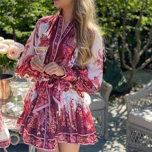 2020 début de l'automne ceinture rouge imprimé boucle simple rangée dame lanterne mode robe manches montrer grand vent débutante de la marque