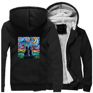 Cat in Gogh Starry night Thick Warm Hoodie funny sweatshirt men Fleece Zip Coats Harajuku streetwear mens Winter Jacket