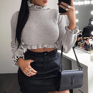 Women Sexy High Collar Top Elastic Tight fitting Expose Navel Bottoming Out Long Sleeve Knitting Tops Drop Shipping