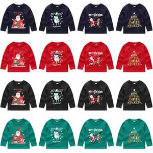 Niños de la Navidad Sudaderas muchachas de los bebés con capucha de manga larga suéter de cuello redondo con capucha Tops Ropa para niños otoño T Shirts E92403