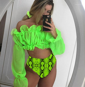 Sexy Slash Neck Chiffon Swimsuits Ruffle Long Sleeve Snake Pattern Bikinis 2pcs Fashion Women Summer Beachwear