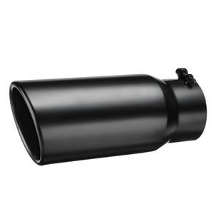 Scarico auto marmitta 4 pollici Inlet 5 pollici tubo di scarico punta posteriore del tubo tubo nero in acciaio inossidabile