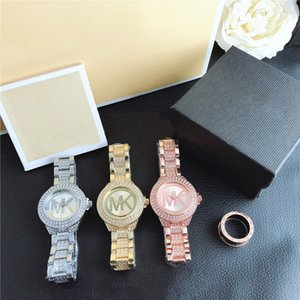MICHAEL KORS 20 ArtRhinestone mk Armbanduhr Luxus-Armband-Uhren Luxus-Designer-rosa Kleid Diamant-Uhr-Frauen Gold Rosenquarz c HIPX #