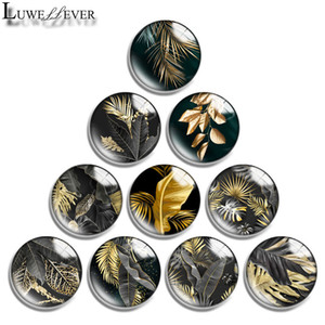 10mm 12mm 14mm 16mm 20mm 25mm 30mm 629 Golden leaves Round Glass Cabochon Jewelry Finding Fit 18mm Snap Button Charm Bracelet Necklace