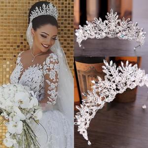Luxe nuptiale Couronne de mariage Accessoires de cheveux Blanc d'Ivoire long cristal perlé Eglise Bling magnifique Nouveau Arrivée