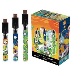 Desenhos animados Impressão Pré-aqueça o VV bateria inferior ajustável Spinner Vape Pen Carrinhos Battery 650mAh 900mAh 1100mAh 510 thread para atomizador óleo espesso