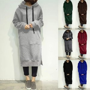 Women Winter Warm Hooded Hoodie Baggy Pullover Oversize Sweatshirt Long Dress sweatshirt hoodies Women Drop Shipping