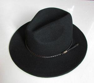 Yeni% 100 Yün Su geçirmez Fedoras Şapka Erkek Buruşmayan Binicilik Şapka Geniş Brim Şövalye Kovboy Yün Cap Gentleman B-8121