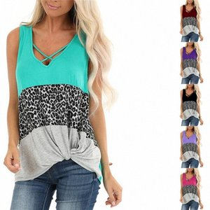 Women T Shirt 2020 Summer Clothes V-Neck Fashion Leopard Patchwork Color Kink Sleeveless T-shirt Casual Sports Tops Tees S-3XL CZ316 JWFw#