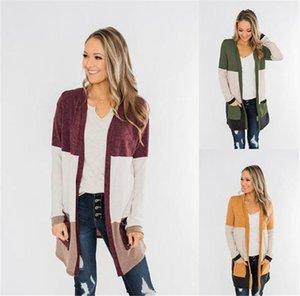 Sweater Cardigan beiläufige lange Hülsen-lose lange Strickjacke Mäntel New 20FW Frauen Kleidung Kontrast-Farben-Frauen