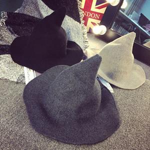 Yeni Cadılar Bayramı Kişilik Sihirbazı Hat 2020 Yaratıcı Fashionaire Trend Tasarımcı Peaked Büyük Brim Yün Şapka Katı Renk Moda VT1685 Caps