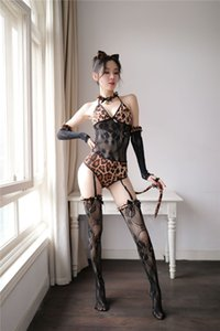 Femmes Leopard Slim Sexy Lingeries 4PCS Chat Femmes Mesh Patchwork Avec Garther Sock Sous-vêtements Ensembles Femme Costumes Cosplay Designer