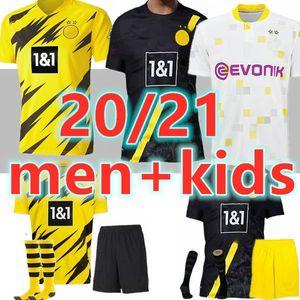 adult kids with sock 2020 2021 haaland borussia dortmund soccer jersey 20 21 sancho reus brandt hazard reus home maillot de football shirts