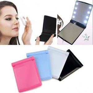 cgjxs maquillaje espejo LED Luz Espejo de sobremesa portátil compacto 8 Luces Led iluminado Viajes compone el espejo