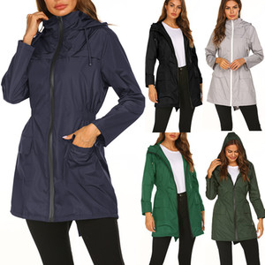Women's Outdoor Windbreaker Femme Femme Automne et Hiver Slim Medium Long manteau Mode Bande-vent Veste Jacket Veste Jacket L-10