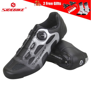Sidebike Ultralight Carbon Fiber Cycling Shoes Road Bike Shoes Breathable Self-Locking Reflective Carbon Sole Bicycle