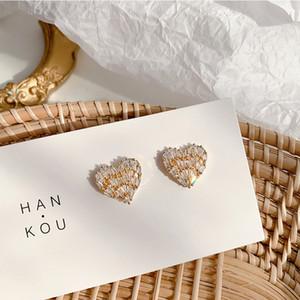 Японские и корейский Темперамент формы сердца Универсальных серег Простой Личность инкрустированного Алмазная Любовь серьга женщина оптовая продажа ювелирные изделия