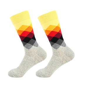 Men Casual Socks Diamond Printed Cotton Blend Dress Hosiery Footwear Accessories