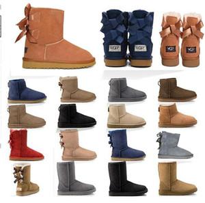 2020 di alta qualità stivali nuovi stivali delle donne in Australia ragazza della neve di modo classico di castagno Bowtie caviglia arco invernale avvio pelo corto Eur 36-41 gf4H #