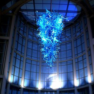 большие светильники Rustic Голубой Shade Рука выдувное стекло цепи люстры освещение LED освещение для гостиной спальни дома украшения-L