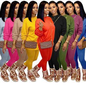 женская осень зима плюс размером одежде 2 шт два спортивных костюмов конфеты цвета свободного свитера леггинсы брюки брюки нарядов набор случайных одежду