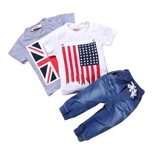 Children Clothing 3 PCS Sets Summer Kids Boys Clothes Outfit 2 PCS Cotton Short Sleeve Tops And Jeans Children Costume 2-7 Year
