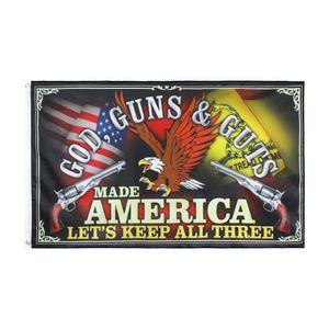 2. Änderung Banner: Kostenloser Versand GOD GUNS GUTS Bleiben wir ALLE DREI Flagge direkte Fabrik 90 * 150 für Indoor Outdoor Hängedeko