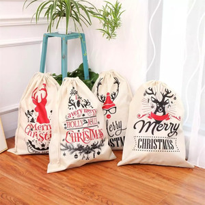 산타 자루 크리스마스 선물 가방 산타 졸라 매는 끈 가방 산타 클로스 사슴 리넨 캐디 백 크리스마스 크리스마스 파티 장식 OWE837