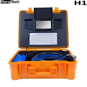 H1 7 INCH Pipeline Endoscope with Meter Counter Wireless Keyboard HD 1080P 25mm Drain Sewer Pipe Inspection Video Camera 20m