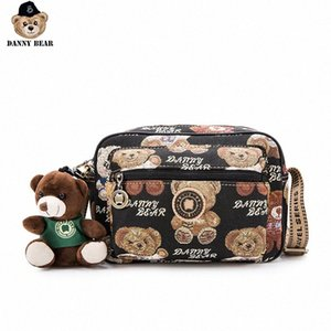 Hombro Danny Bear Bear Impreso Crossbody Bolsa para las mujeres de la vendimia de la universidad de la cremallera bolso de la manera DMB9115127 dMzc #