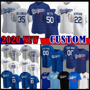 2020 Neue 50 Mookie Betts Individuelle Dodgers Baseball-Shirt Cody Bellinger 22 Clayton Kershaw Justin Turner Enrique Hernandez Mike Piazza Seager