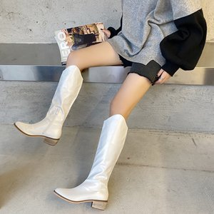 2020 New INS Women White Block High Heels Mid Calf Boots Lady Riding Cowboy Boots Winter Designer Thigh High Western Shoes