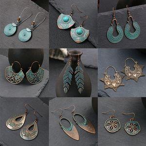 Han Qi jewelry popular alloy Amazon cross-border geometric earrings earrings wholesale retro lady leaves turquoise