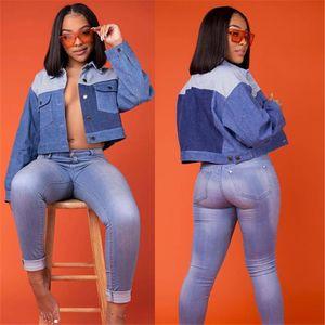 Giacca di jeans Le donne Winter Fashion patchwork a maniche lunghe risvolto collo corto Jean Jacket Womens Designer Clothes