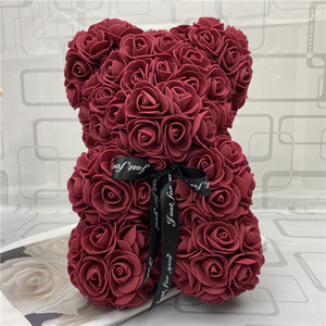 Rose Teddy Bear New Valentines Day Regalo 25 cm Oso de flores Decoración artificial Regalo de Navidad para mujeres Valentines Regalo de mar Way DHF1507