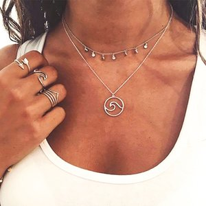 Boho Multilayer Necklace Gold color Coin Chokers Necklace Women Waves Pendant Necklace Charm Collares Cortos Mujer
