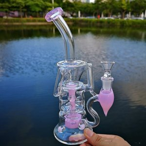 10Inches Glass Bong Double Recycler Heady Glass Turbine Perc Percolator Water Pipes Fab Egg Dab Rigs Oil Rig 14mm Female Joint With Bowl