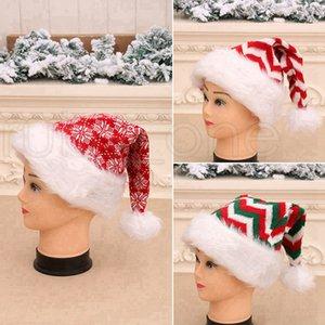 De punto de fibra larga de lana a rayas de Navidad sombrero de la felpa de Navidad para adultos sombrero sombreros del partido de Navidad Decoración de Navidad regalos RRA3443
