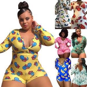Moda Kadınlar Onesies Seksi Uzun Kollu Gecelik Karikatür Baskı Şort Düğme Jumpsuit Casual Bayanlar Artı boyutu Ev Giyim tulum
