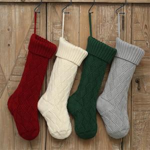 Tricot Noël acrylique Tricoté Chaussettes Rouge Vert Blanc Gris Noël décoratifs pour la maison Hanging cadeau Sock OWF1075