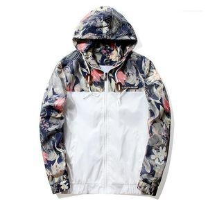 Jacket Men Hip Hop Slim Fit Flowers Jackets Hooded Panelled Coat Male Clothing Mens Designer Florals Casual