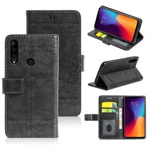 Flip Case For Lenovo K10 Plus Phone Case Embossed Flower Wallet Oil Wax Leather Case