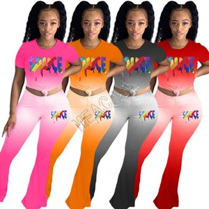Women Tracksuit Gradient Designers Letters O-Neck Short Sleeve T Shirts Pants two Piece Sets Tees Flared Trousers Casual Clothes D81702