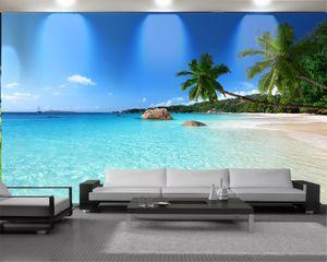 3d Mural Wallpaper Custom 3d Seascape Wallpaper Beautiful Romantic Seascape of Coconut Islands Interior Decoration Silk Mural Wallpaper