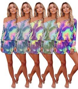 Atacado mais barato Two Pieces Mulheres Pjamas manga comprida Tops Calças curtas meninas Tie-dye Início vestido confortável Gym Fitness Sportwear