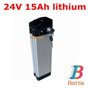 Brand cells 24v 15ah lithium battery pack electric bike 350w bicycle 250w silver fish Aluminum case + charger